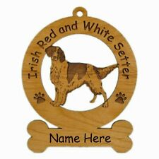 Red and White Irish Setter Dog Ornament Personalized With Your Dogs Name 3375