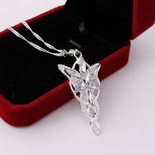Women Silver Crystal Lord of the Rings Arwen Evenstar Chain Pendant Necklace