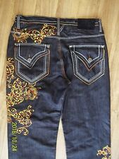 Delf Original Denim Black Baggy Hip Hop Jeans 38 X 34 Embroidery Rave Skaters