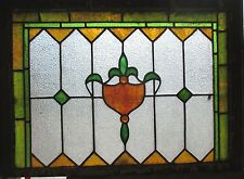 ~ ANTIQUE AMERICAN STAINED GLASS TRANSOM WINDOW 32 x 23.25 ARCHITECTURAL SALVAGE