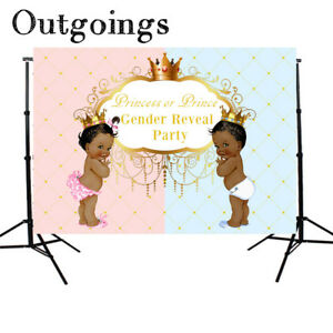7x5FT Prince and Princess Backdrops Gender Reveal Photo Background Studio Props