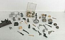 Vintage Dollhouse Miniature Lot - Metal Fish, Pots, pans Room Box