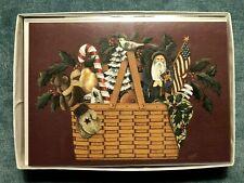 2003 Longaberger Christmas Cards - Lot of 12 - Nib - Santa - Patriotic - Us Flag