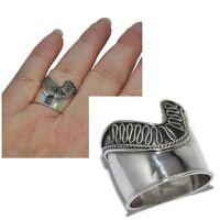 Bague anneau large style ethnique en argent massif 925 T 52 bijou