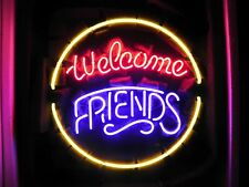 """Welcome Friends Open Neon Light Lamp Sign 17""""x17"""" Bar Pub Glass Artwork Decor"""
