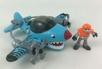 imaginext Sky Racers Blue Flying Tiger Plane with Pilot Figure Fisher Price 2010