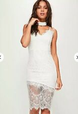 26a9aad0648 Missguided White Lace Midi Dress Size 8