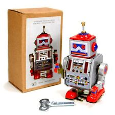 "TIN TOY ROBOT 4"" Wind Up Retro Vintage Style Silver Metal NIB Space Collectible"