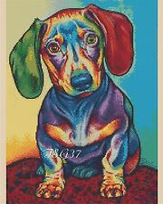 Cross Stitch Chart - Colourful Dachshund Dog No. 392 .TSG37