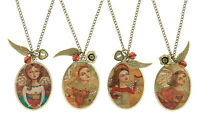 Be True Angel antiqued pendant, fashion necklace with charms
