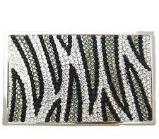Zebra Crystal & Metal Business Card Case w/ Swarovski Crystals