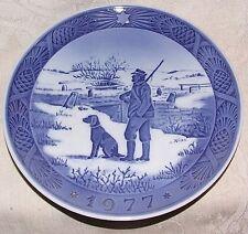 1977 Royal Copenhagen Christmas Xmas Plate Hunter Dog Immervad Bridge Kai Lange