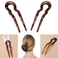 Chignon Hair Pin U Stick Hairpin BROWN Women Plastic Vintage Cellulose Acetate