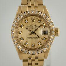 Rolex Datejust Ladies, Ref 6917, 18K Yellow Gold, Custom Diamond Dial and Bezel