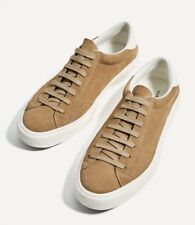 3e3a2546ffd New Zara Man Leather Suede Sneakers Beige 6 White Detail