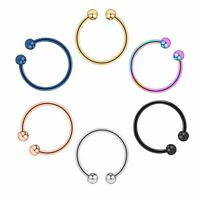 6PCS Fake Clip On Septum 20G Nose Lip Hoop Ring Surgical Steel Body Piercing