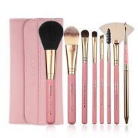 Zoreya Makeup Brushes, 8pcs Travel Brush Set With PU Leather Case Pink