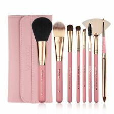 Zoreya Makeup Brushes, 8pcs Travel Brush Set With PU Leather Case Pink