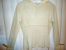 vtg Womens Sz 2 XS NANCY HELLER ivory white classic dressy 100% CASHMERE sweater