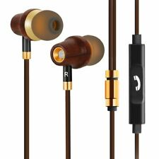 Earbud Headphones Premium Wood & copper In-ear Noise-isolating Earphones Mic BT