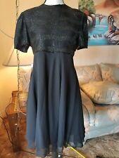NWT Laurence Kazar Black Beaded Sequin Formal Dress Knee Length Chiffon Bottom L