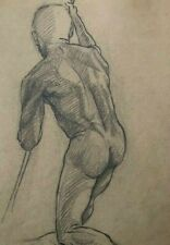 Late 19th c ACADEMIC DRAWING 'MALE NUDE' - French School -  TOP QUALITY