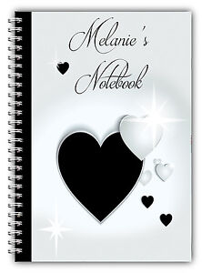 A5 PERSONALISED NOTE BOOK VALENTINES GIFT/ A5 NOTEBOOKS/ 50 LINED PAGES/HEARTS 4