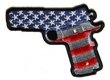 "(H24) 9MM GUN AMERICAN FLAG MOTIF 4"" x 3"" iron on patch (5246) Biker"