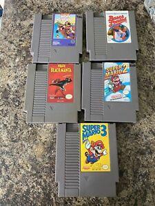 Vintage Lot of 5 Nintendo NES Game Cartridges - Untested super Mario 2 & 3