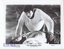 Alain Delon w/barechested man VINTAGE Photo Swimming Pool