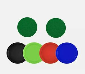 Air Hockey Replacement Kit 4 Color Pucks & 2 Green Felt Pusher Paddle Pads