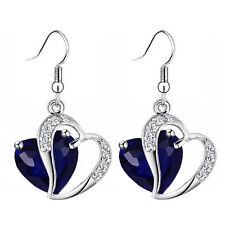 Luxury Sapphire Dark Blue Zircon Two Hearts Silver Tone Drop Earrings E873