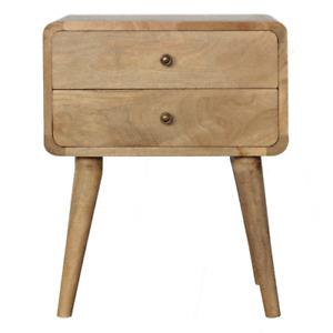 Handmade Scandinavian Curved Solid Wood Bedside Table Drawers Oak-ish