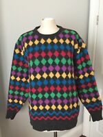 "Made Italy Women's Wool Crew Neck Knit Sweater Size L XL 48"" Chest Rainbow Fuzzy"