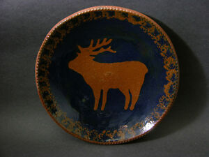 Uncommon Vintage 1982 Ned Foltz Folk Art Pottery Plate, Elk or Stag Silhouette