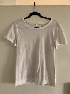 lululemon 6 womens white short sleeve running shirt