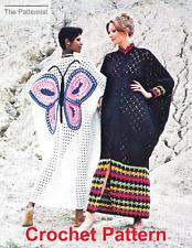 Vintage Crochet Pattern for 2 Boho Caftans 1970s Butterfly Muu Muu Free Shipping