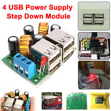 12V 4 Port USB To 5V 5A Step Down DC Power Supply Module Mobile Fast Charger UK