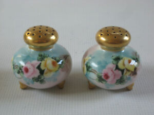 HAND PAINTED LIMOGES STYLE Footed Porcelain Salt Pepper Shakers - Artist Signed