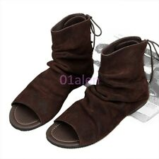 Mens Suede Retro Vintage Leather Ankle Boots Back Lace Open Toe Sandal Roma 2016