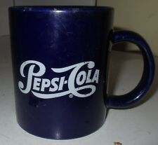 Vintage Pepsi-Cola Pepsi Logo Dark Blue Ceramic Coffee Mug Cup Used Drink