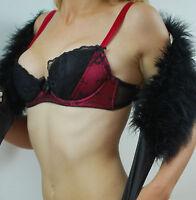 LA SENZA LINGERIE UNDERWEAR CELINE LUXURY SILK BRA&SHORT SET36A&10 RED/BLAK SET