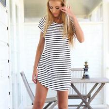 Women's Short Sleeve Stripe Party Crew Neck Bodycon Summer Beach T-shirt Dress