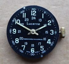 Gents military style 24hr Lucerne watch movement 27mm, for repair. Baumgartner