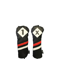 Majek Retro Golf 1 X Driver Fairway Wood Headcover Black Red White Leather Style