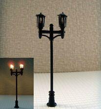 S065 - 10 Stück Straßenlampen Set Parkleuchten 2-flammig Höhe variabel von 5-7cm