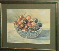 Vintage impressionist still life with fruits watercolor painting signed
