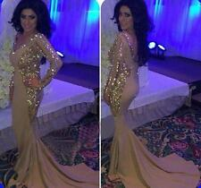 Crystal Mermaid Long Formal Evening Dress Celebrity Christmas Prom Party Gown