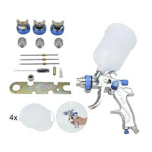 HVLP Spray Gun Kit Gravity Feed Vehicle Car Paint 1.4MM 1.7MM 2.0MM Nozzle 600CC