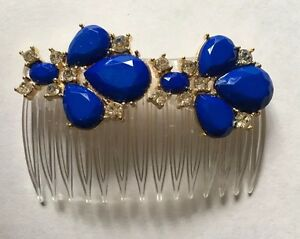 """Handmade ROYAL BLUE & CLEAR Stones JEWELED, STATEMENT 2 1/2"""" CLEAR HAIR COMB"""
